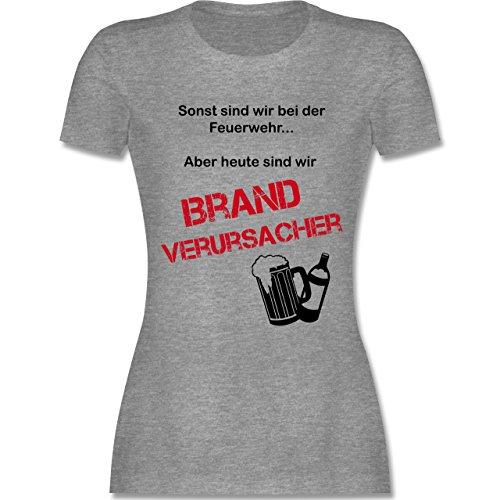 Feuerwehr - Brandverursacher - tailliertes Premium T-Shirt mit Rundhalsausschnitt für Damen Grau Meliert