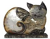 Dekofigur Katze liegend Metall Statue 17 cm Garten Dekoration Wohnung Skulptur