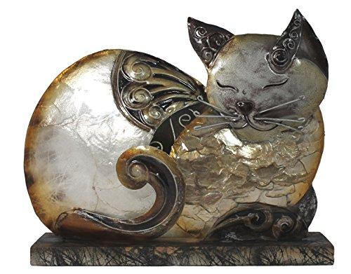 Dekofigur Katze liegend Metall Statue 17 cm Garten Dekoration Wohnung Skulptur | Dekoration > Figuren und Skulpturen > Tiere | Muster | Metall | colourliving
