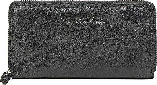 PHIL+SOPHIE, Geldbörsen, Portemonnaies, Börsen, Brieftaschen, Metallic, 19x10,5x2 cm (B x H x T), Farbe:Schwarz