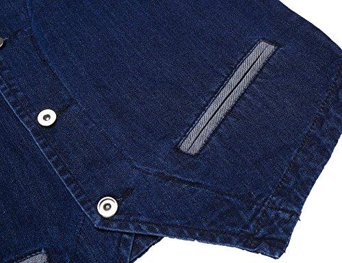 Coofandy Herren Weste Ärmellos Tief V-Ausschnitt Einreiher Jeansweste Slim Fit Casual Freizeit in Denim Vest Blau