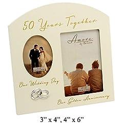 Idea Regalo - The Emporium Home Amore - Cornice portafoto da regalo per il 50° anniversario di matrimonio (anniversario d'oro), 15 x 10 cm, color crema