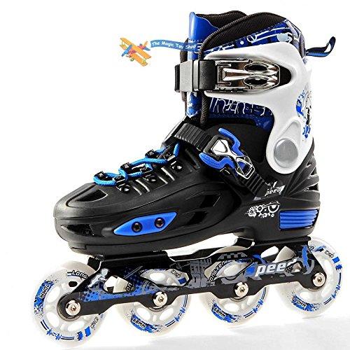 childrens-adults-kids-boys-girls-4-wheel-adjustable-inline-skates-roller-blades-blue-black-large-uk-