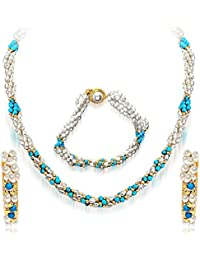 Surat Diamonds 3 Line Twisted Real Rice Pearl & Turquoise Beads Necklace, Earring & Bracelet Set for Women (SP99)
