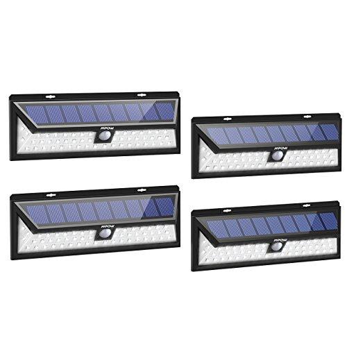 Mpow 54 LED Solarleuchte Außen Wasserdichte Solarbetriebene Lampe mit 120° Weitwinkel Bewegungsmelder Solarlicht für Garten, Terrasse, Auffahrt, Pfad, Hof, Balkon - 4 Stück