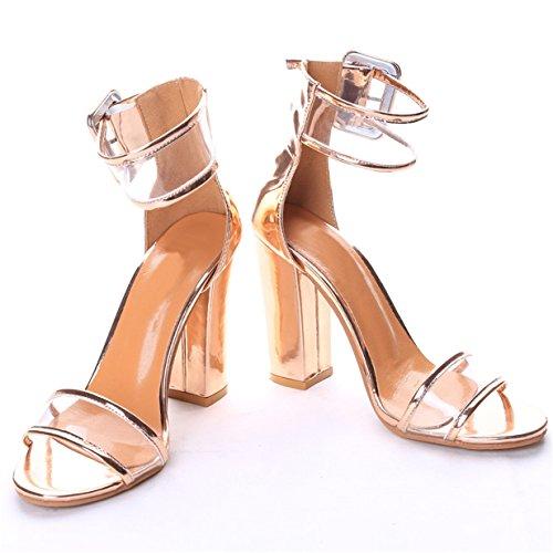 Lalang Femme À Talons Hauts Chaussures Sandales à talons ouverts à sangle à cheville Or