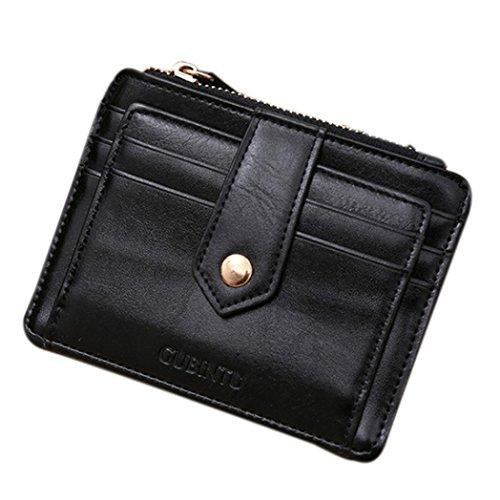Reasoncool 2017 mini in pelle con cerniera carta di credito supporto di identificazione portafoglio money clip (nero)