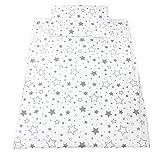 TupTam Kinderbettwäsche Set Gemustert 2 teilig, Farbe: Sternbild Weiß / Grau, Größe: 135x100 cm