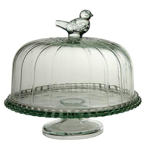 PAME 02775–Plat à tarte en verre sur pied et cloche, 24x 23cm