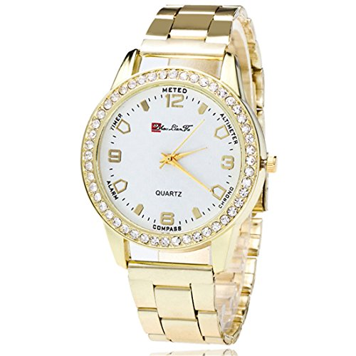 Souarts Damen Einfach Edelstahl Armbanduhr Silber Gold Rosegold Farbe Quarzuhr Analog mit Batterie