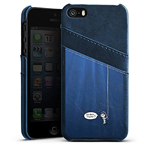 Apple iPhone 5s Housse Étui Protection Coque Plongeur Eau Water Étui en cuir bleu marine