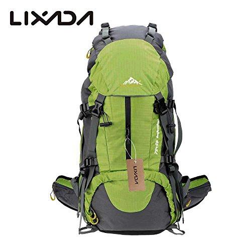 Lixada Zaino da Trekking Zaini da Escursionismo 50L Impermeabile Sport Trekking Escursioni Campeggio Viaggio Arrampicata Zaino con Copertura della Pioggia (blu) (verde)