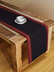 Dhrohar NEUDIS Solid Hand Woven Premium Cotton Table Runner - Large - Black - Size: 72X13 Inch (182X33 Cms)