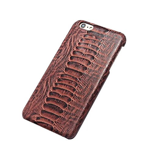 EKINHUI Case Cover Straußenfuß Muster Premium Echtleder Rücken Schutzhülle Case Leichtgewicht Thin Case für IPhone 6 Plus & 6s Plus ( Color : Gray ) Brown