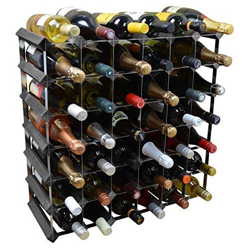 Weinregal für 42 Flaschen - Fertig montiert - Schwarzes Holz