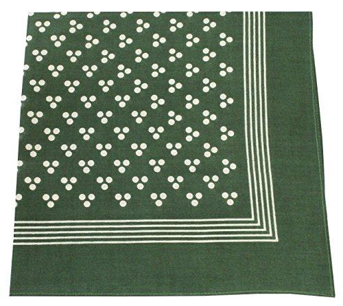 X Triple Kostüm - Tobeni 548 Damen Herren Nickituch Kopftuch Bandana Halstuch Baumwolle Unisex Farbe Triple-Point Grün Grösse 54 cm x 54 cm