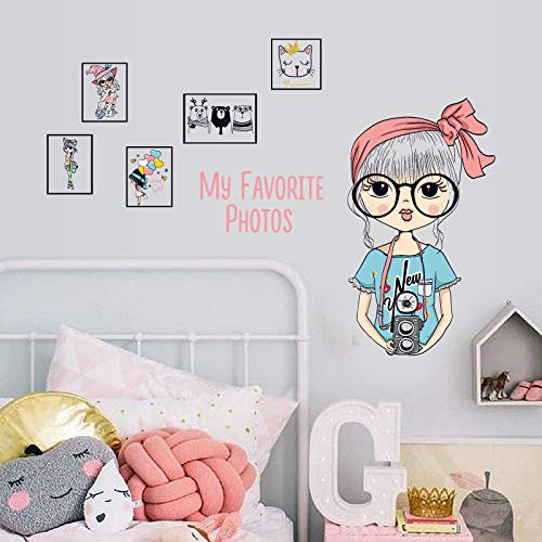 Wandaufkleber ZOZOSO Große Brille Mädchen Foto Frame Schlafzimmer Lernen Schlafsaal Wanddekoration Wandaufkleber Wandbild