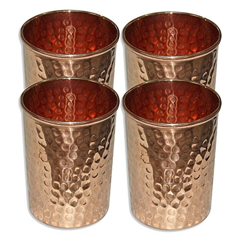 Taluka Set of 4, Copper Glass for Ayurvedic Health Benefits Drinkware Hammered Tumbler