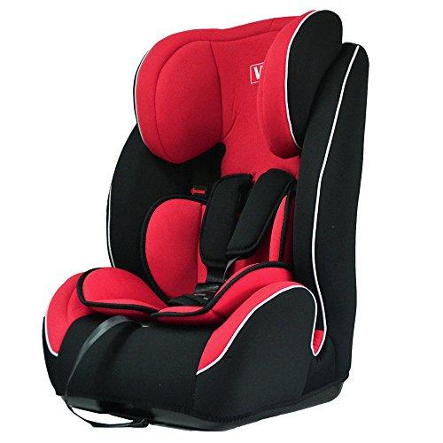 VEELAR KIDS® Kinderautositz Autokindersitz Autositz Kindersitz Gruppe 1+2+3 rot/schwarz