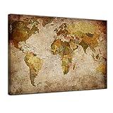 Kunstdruck - Weltkarte Retro - Bild auf Leinwand - 60 x 50 cm - Leinwandbilder - Bilder als Leinwanddruck - Urban & Graphic - Landkarte im Vintage-Stil