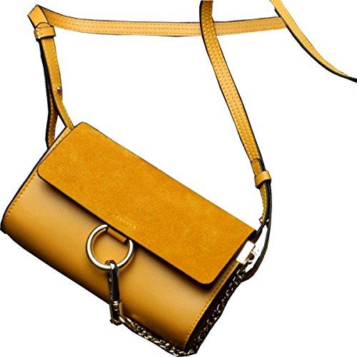 1fd9008aaa90e Frauen Echtes Leder Matte Handy-Wallet Kleine Umhängetasche  Einzel-Umhängetasche Yellow