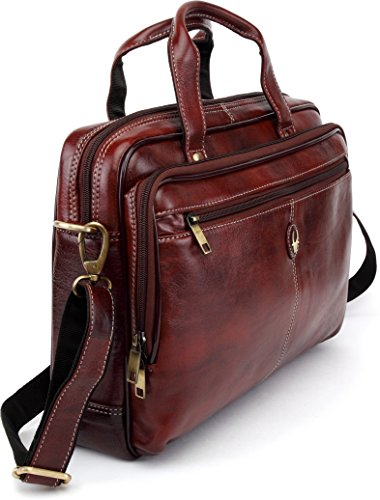WildHorn Leather 39.37 cms Brown Messenger Bag (WHBB101)