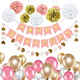 Gdaya Décorations Anniversaire, Décorations de Fête avec Bannière Happy Birthday,Guirlande Etoiles en Papier de 2m,30 Ballons, 9 Pompons en Papier,10m de Ruban Doré - Rose,Doré et Blanc