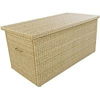 [Patrocinado]Baúl para exterior | Tamaño: 158x79x72 cm | Aluminio y rattán sintético color natural | Almacenamiento para jardín | Portes gratis