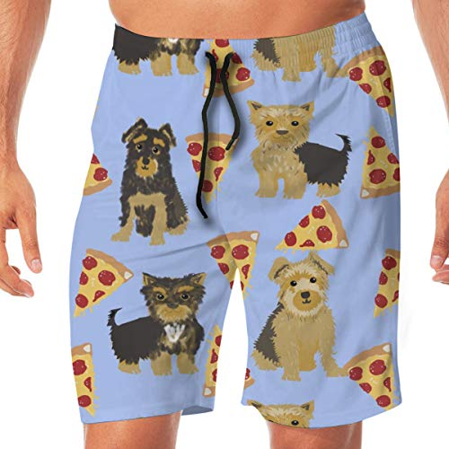 Yorkie Pizza, Yorkshire Terriers Pizza Funny Cute Dog Novelty Food Print for Yorkie Owners Best Dogs for Home Dec Surfing Pocket Elastic Waist Men's Beach Pants Shorts Beach Shorts Swim Trunks Medium - Dog Food Yorkie