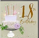 Belly Button Designs hochwertige Glückwunschkarte zum runden 18. Geburtstag aus der neuen Elle Serie mit Prägung, Folie und Kristallen BE030