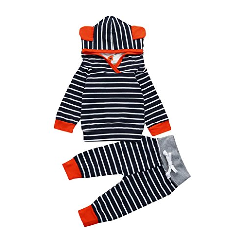 estyi Baby Kleidung Mädchen Niedlich Jungen Striped mit Kapuze Tops+ Hosen Outfits 2Pcs Set Pullover Sweatshirts Jacken (Marine, 18M/100CM) (Kind Trenchcoat Kostüm)