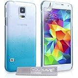 Yousave Accessories Schutzhülle Samsung Galaxy S5 Hülle [Regentropfen Hart] - Blau / Klare