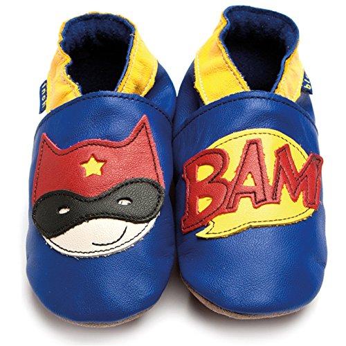 Superheld Schuhe (Inch Blue Mädchen/Jungen Schuhe für den Kinderwagen aus luxuriösem Leder - Weiche Sohle - Superheld Kobaltblau)