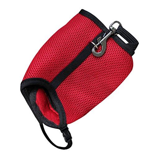 UEETEK Kaninchen Harness Leine, Kleintiergarnitur für Kaninchen, Softgeschirr mit Blei für Kaninchen Hase Größe M (Rot)