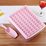 Hokipo 66 Cubes Plastic Ice Tray For Fridge With Storage Box + Spoon + Transparent Cover Lid (Pink)