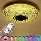 YWY 36W Ø40cm LED plafoniera con Telecomando, costruito nel Altoparlante Bluetooth App Smartphone, Musica Lampada RGB Color Temperatura Regolabile, Diammble Cool Bianco Tondo Incasso Luce Montaggio