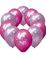 20 Pink Girl's 1st Birthday Printed Pearlised Party Balloons