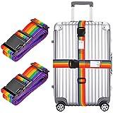 2x Sangle pour valise, Ceinture Réglable d'emballage 198,1cm Long Voyage Valise bagages Sangles de sécurité