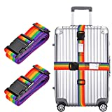 "2x Luggage Strap, Adjustable 78"" Long Travel Packing Belt Suitcase Baggage Security Straps"