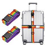 2cinghie per valigia, regolabile, lunga 198,1cm, cinghie di sicurezza Rainbow Color