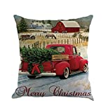 ❄ZEZKT-Home❄ Kissenbezug BaumVintage Weihnachten Santa Claus Sofa Bett Home Decor RentierWeihnachtsBaumKissen Fall (45cm*45cm A, F)