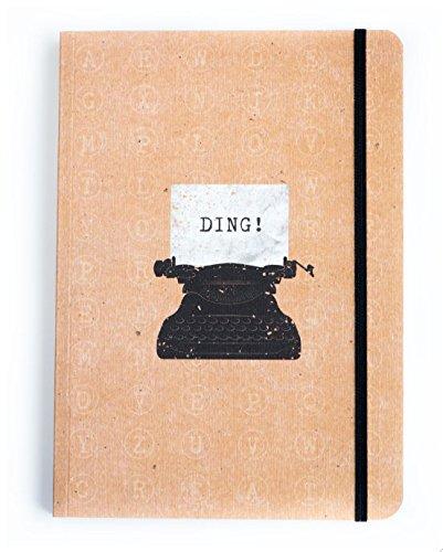 Cuaderno de escritor, tamaño A5Páginas pautadas.Cierre elástico.De Notebook Love., color Coffee / Buff Typewriter