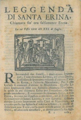 Leggenda di Santa Erina chiamata fin' ora falsamente Erena. La cui festa viene alli XXL di luglio.