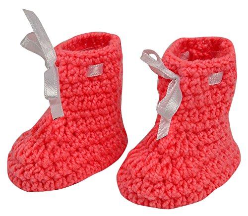 Love Crochet Art Fait à la main du nouveau-né bébé nourrisson Prewalker rose Chaussons Chaussures Chaussettes Saumon