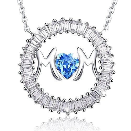 """MEGA CREATIVE JEWELRY """"Te Amo Mamá"""" Collares Mujer de Corazón Azul Cristales Swarovski Colgantes de la Moda Aleación con Letras * MoM *, Regalo de la Joyería"""