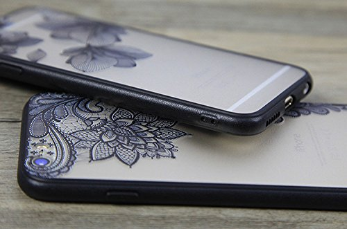 Sunroyal® Custodia per iPhone 6 / 6S Plus (5,5 pollici) [Shock-Absorption] Ultra Sottile Slim 0.8mm Skin Protezione Case di Policarbonato (PC) nero pizzo floreale fiore plastica Case Cover Custodia, A Modello 04