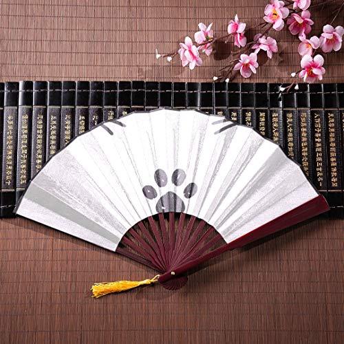 WYYWCY Hand Fan Für Kinder Nette Grafische Katze Gesicht Mit Bambusrahmen Quaste Anhänger Und Stofftasche Chinesischen Fan Für Jungen Fans Bambus Kinder Chinesischen Fan