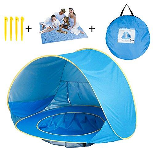 AOMEIQI Baby Strand Zelt, M Pop up Baby Sun Shelter mit Pool Schatten UV-Schutz Baby Pool Zelt mit Strand Decke Sand Frei