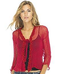Diseño de Bali para mujer Sheer Bolero Cardigan Sweater volantes ligero Knit