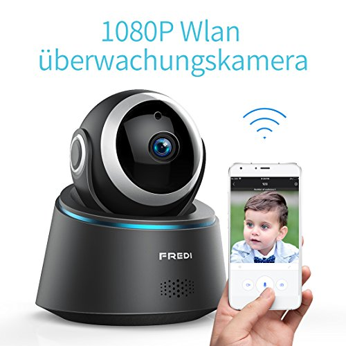 1080P HD Wlan Wifi IP Kamera Haustier Sicherheitskamera Überwachungskamera IP Cam Kabellos P2P Schwenkbar Bewegungsmelder 2 Weg Audio IR Nachtsicht für Baby Überwachung (1080P)
